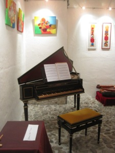 Harpsichord in small concert venue--Archbishop's Residence